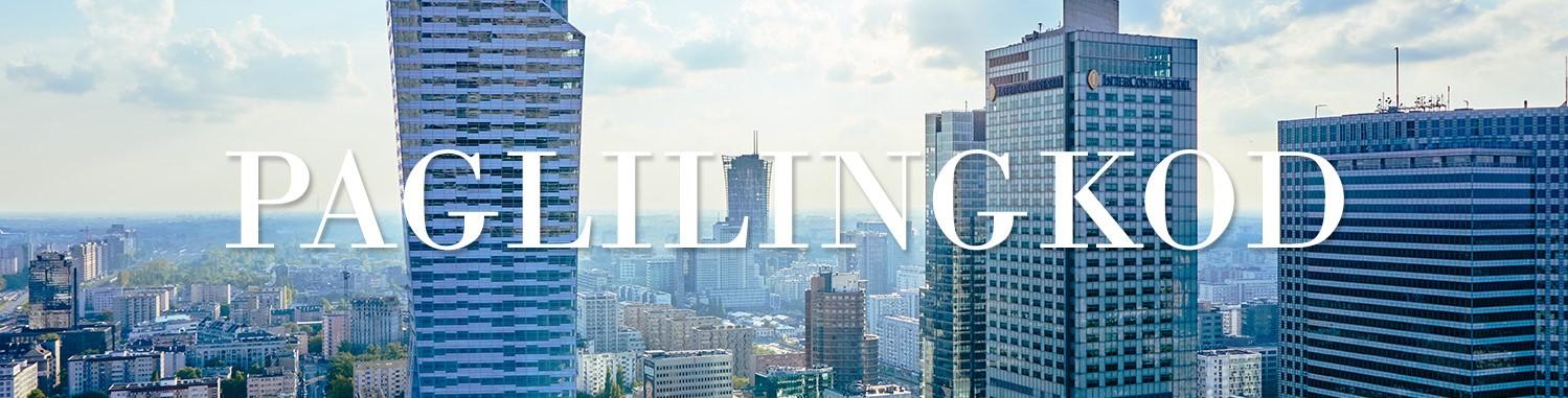 Pagtatayo ng mga skyscraper sa maaraw na lungsod na may link sa mga ministeryo
