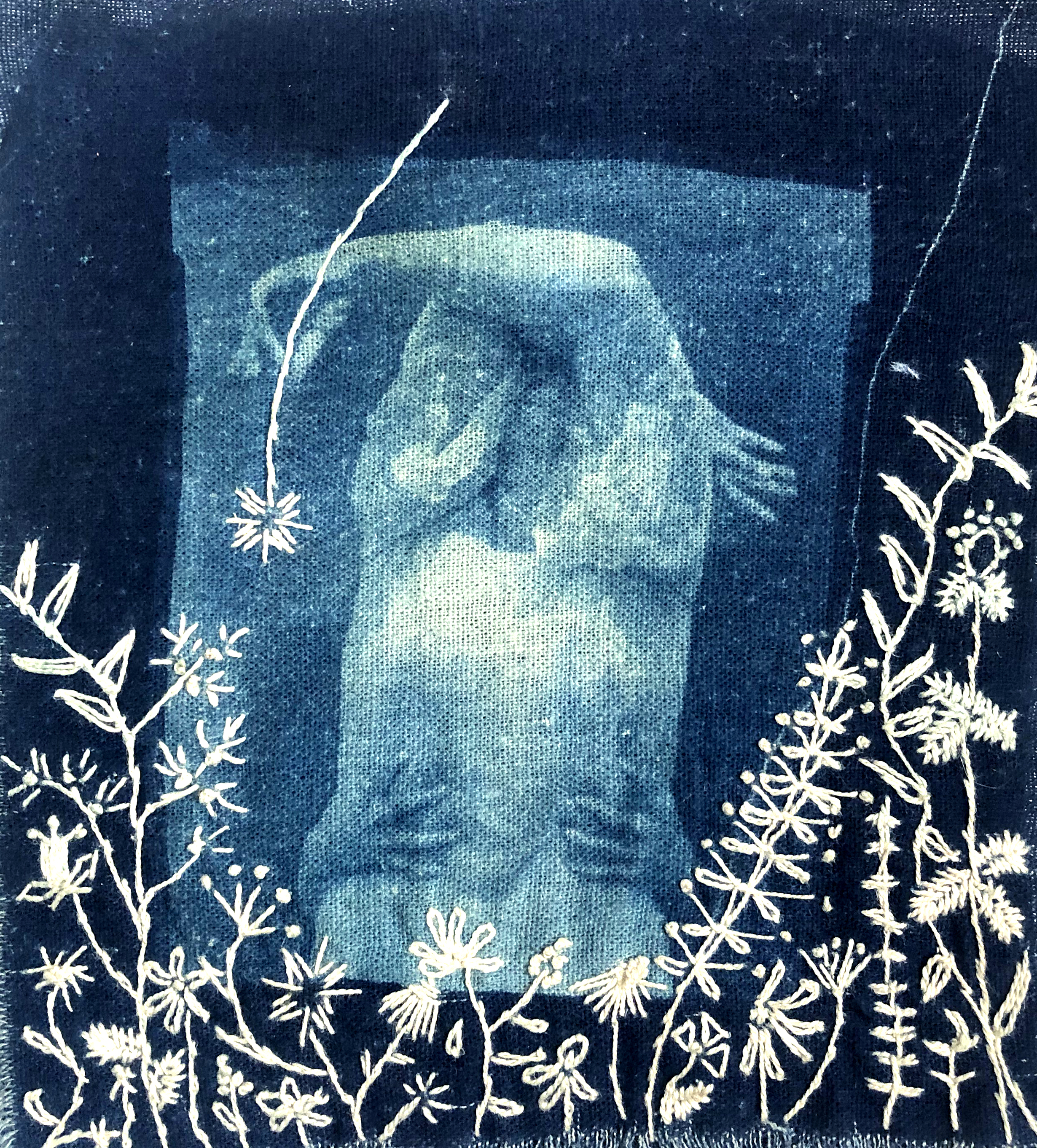 Cyanotypes on linen contact printed from 4x5 negatives  embellished with cotton thread embroidery