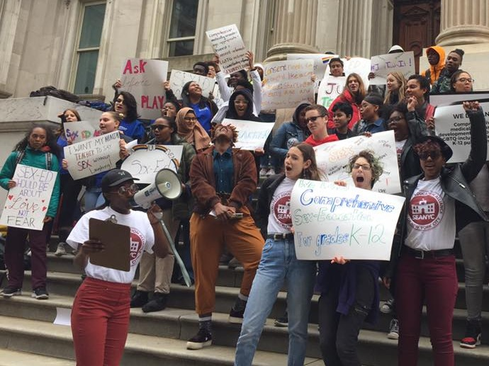 The amazing youth leaders of the Sexuality Education Alliance of NYC (SEANYC) rallying for comprehensive sex ed.