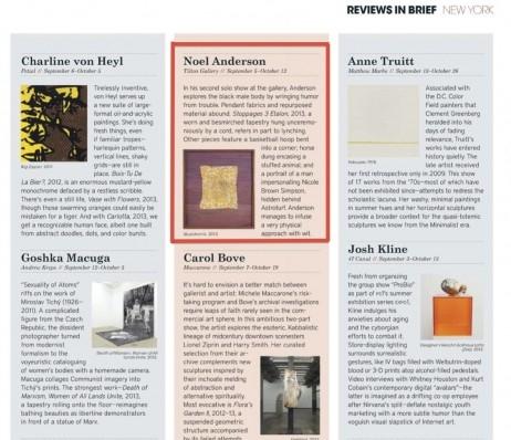 Noel Anderson in Modern Painters Magazine