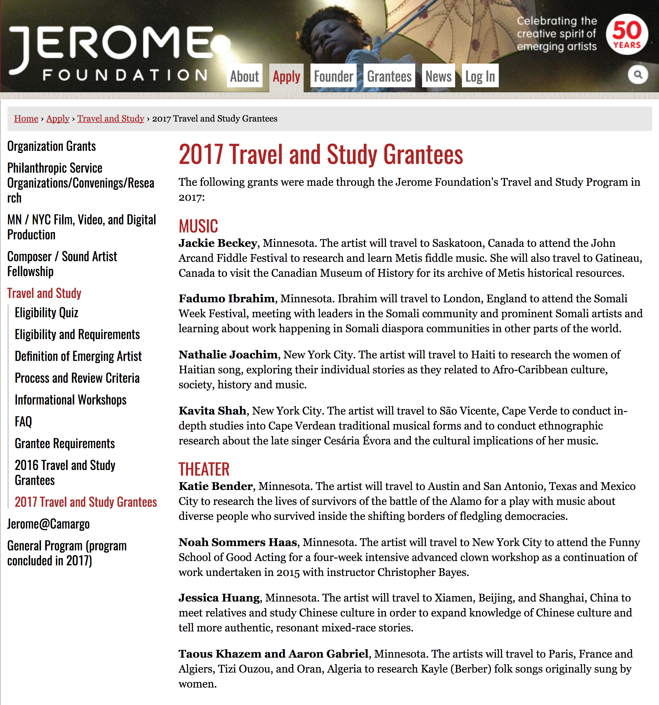 Noel Anderson selected as one of the Jerome Foundation's Travel and Study Grantees for 2017.