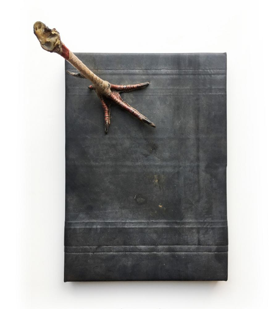 "Foghorn Leghorn , 2017, Bird leg and black rubber, 12"" x 9"""
