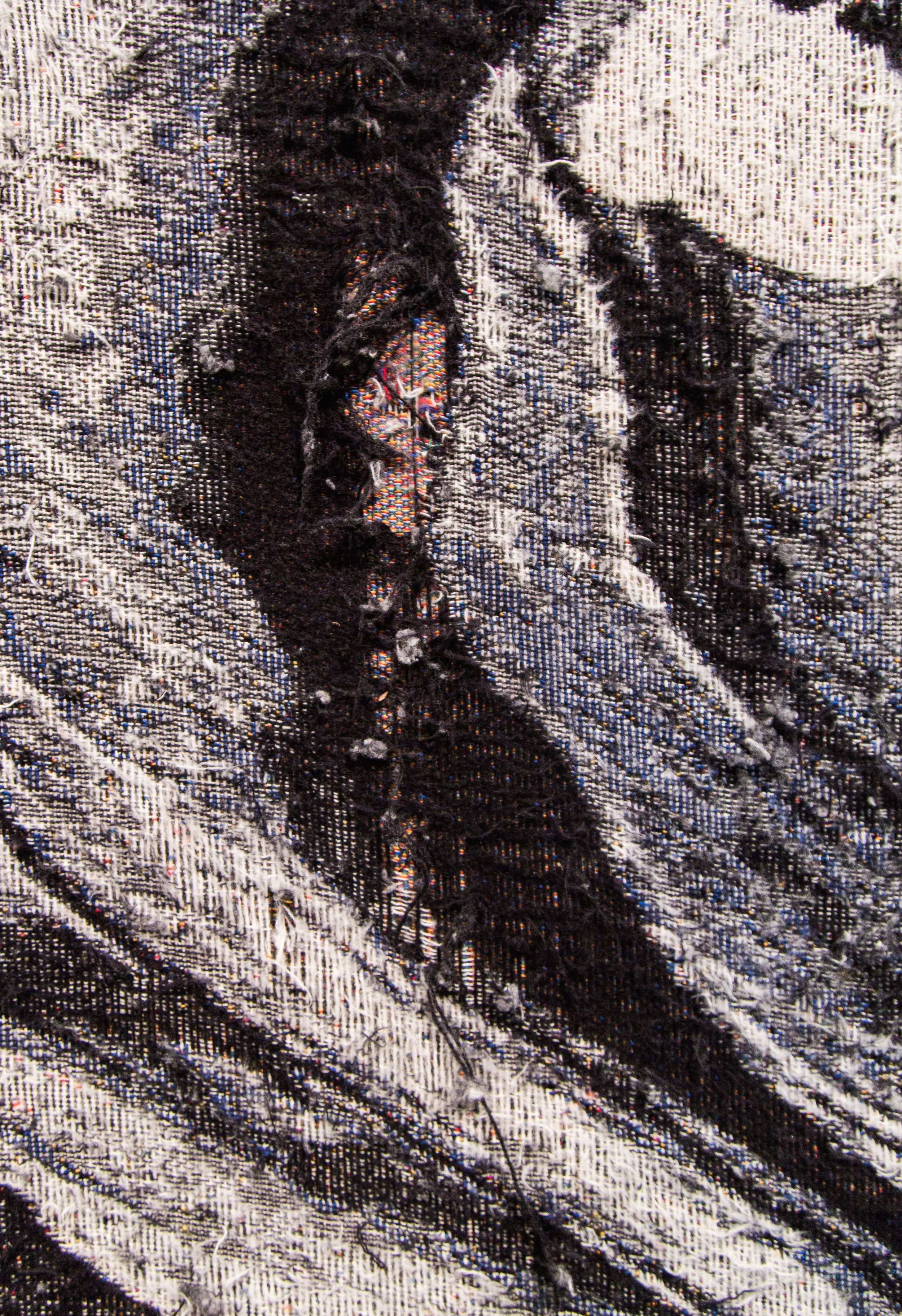 """Die Leitung  (close-up), 2016-2017, Distressed, stretched Jacquard tapestry, 108"""" x 156"""""""