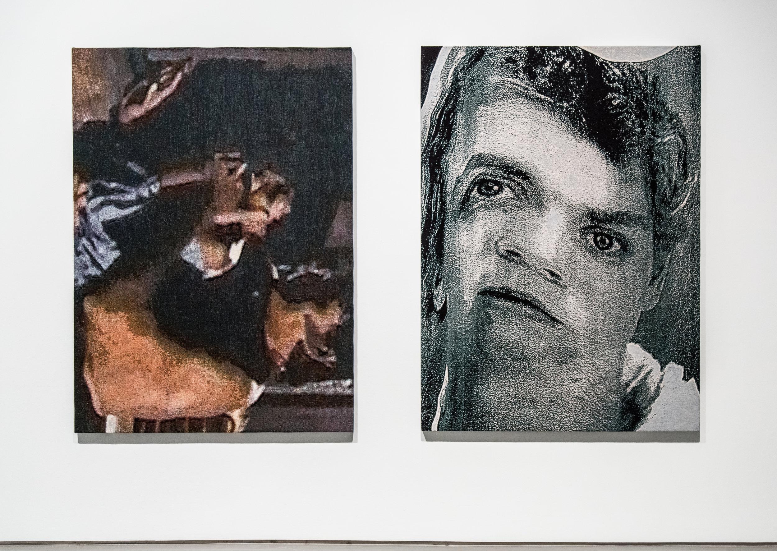 """Der Raub/Stanford Rapist , 2016-2017, Stretched Jacquard tapestries, (2 panels), 104"""" x 74"""""""