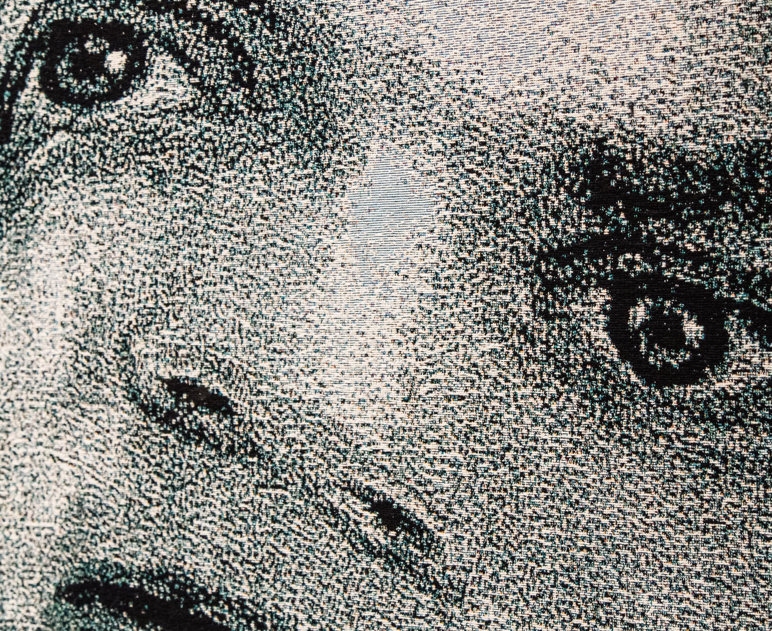"Der Raub/Stanford Rapist  (close-up), 2016-2017, Jacquard tapestries, (2 panels), 104"" x 74"""