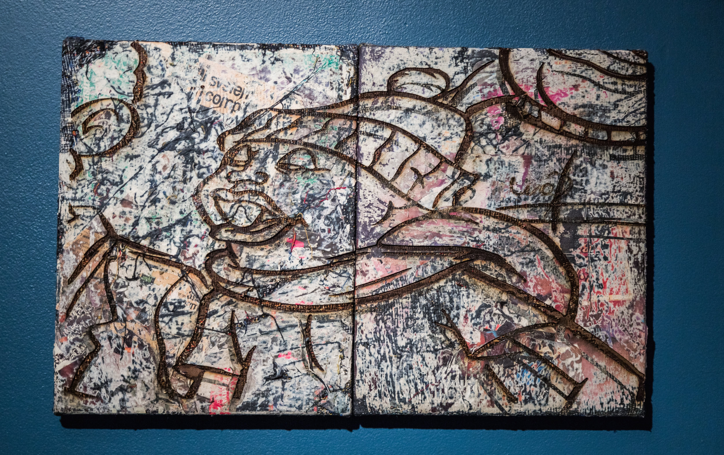 """Arbeiten: Phat , 2016-2017, Laser engraved collage on distressed, stretched Jacquard tapestry (diptych), 14"""" x 22"""""""