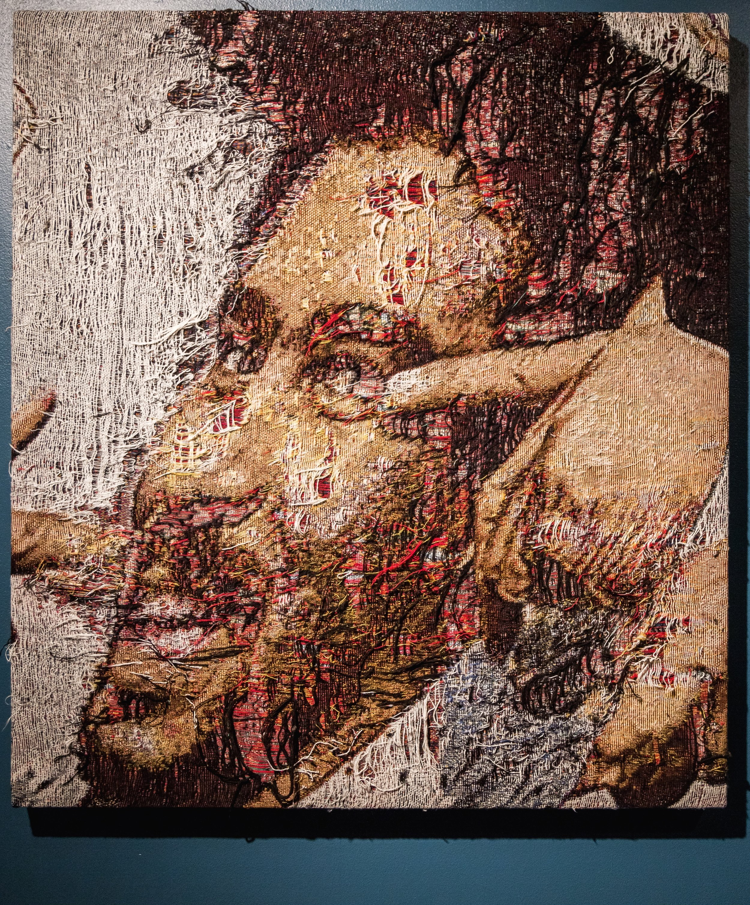 """Prior (Richard Prior headshot) , 2016-2017, Distressed, stretched Jacquard tapestry, 40"""" x 36"""""""