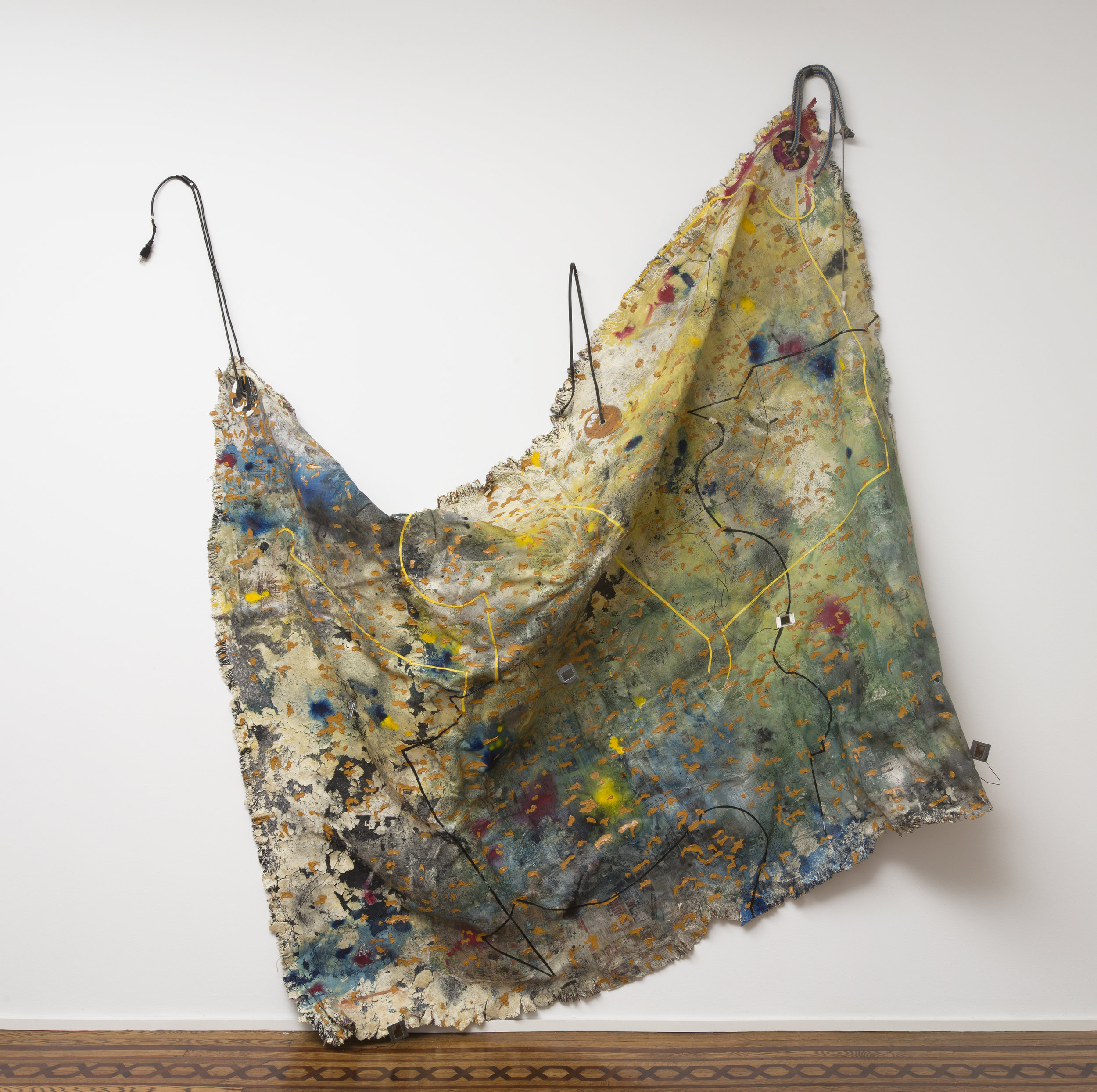 """Stoppages 3 Etalon , 2013, Custom woven tapestry, polyurethane foam, acrylic, dye, glass slides, wire, cards, magazine clipping, AstroTurf and carpet foam, overall installed dimension variable, 60"""" x 83"""""""