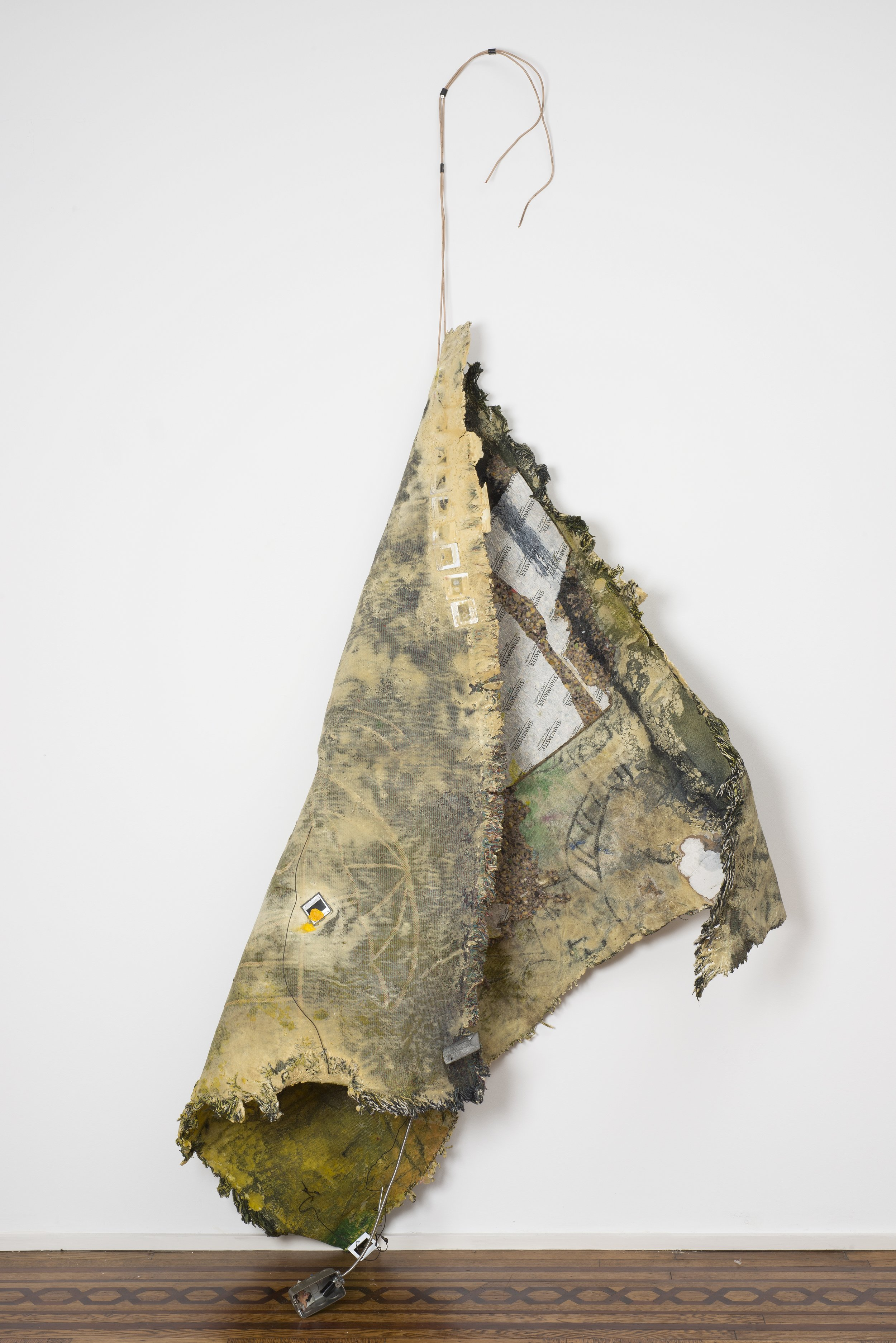 """Akashic 1 , 2013, Custom woven tapestry, polyurethane foam, acrylic, glass slides, cards, rope and wire, overall installed dimensions variable, 82"""" x 104"""""""