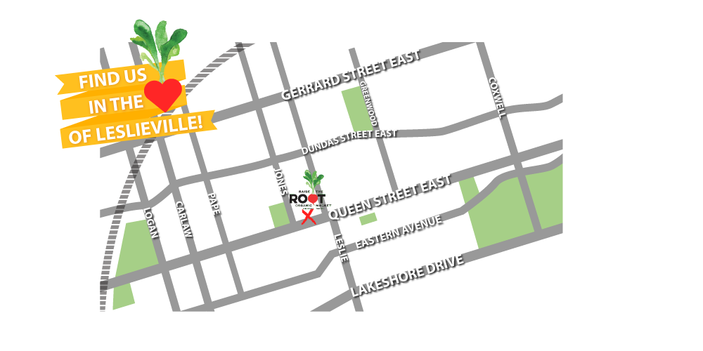 We're located at 1164 Queen Street E. (East of Jones)