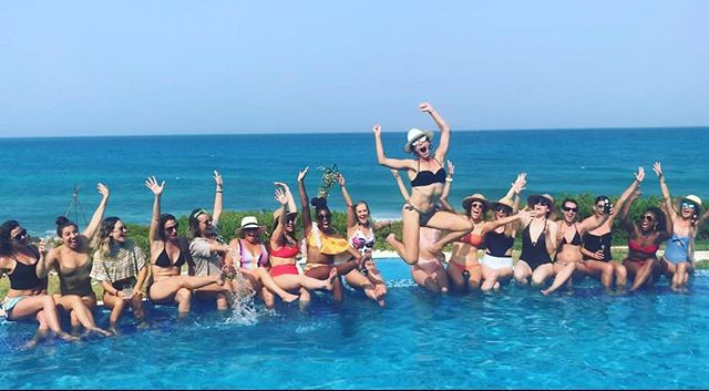 A bride and her entourage . #bride #entourage #girlsquad #bachelorettes #bacheloretteparty #bachparty #bachelorettepartyplanner #beachwithme #girljustwanttohavefun #poolparty #poolside #teambride #tulum #tulummexico #playadelcarmen #solimanbay #bachitup #thebeachplanner