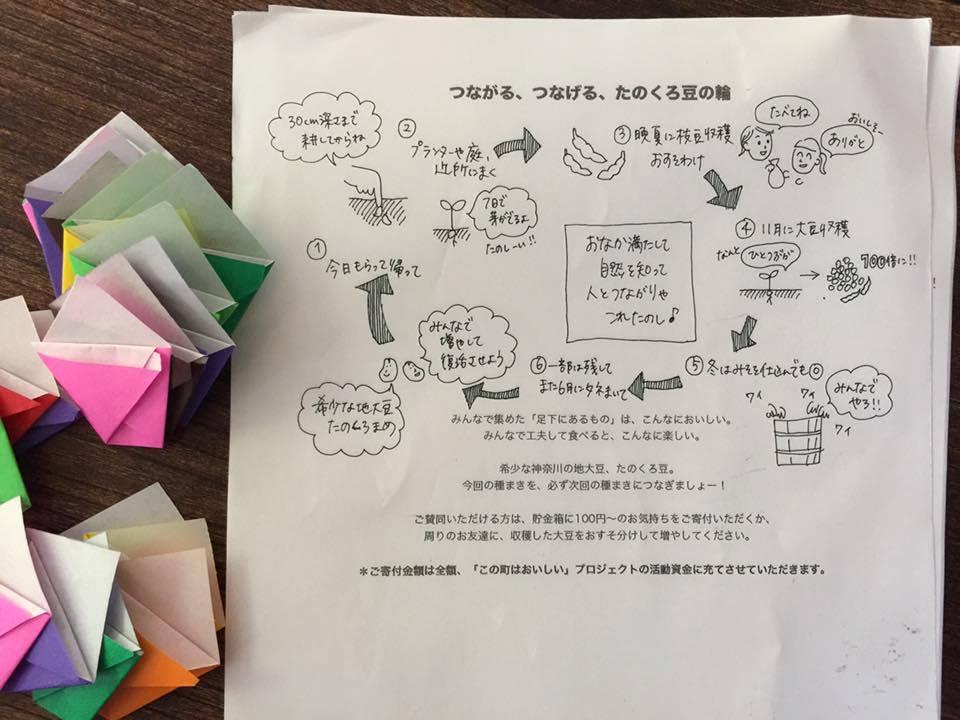封筒に入れたり、折り紙でタネのコップを作ったり。小学生の娘たちが200枚折ってくれました!
