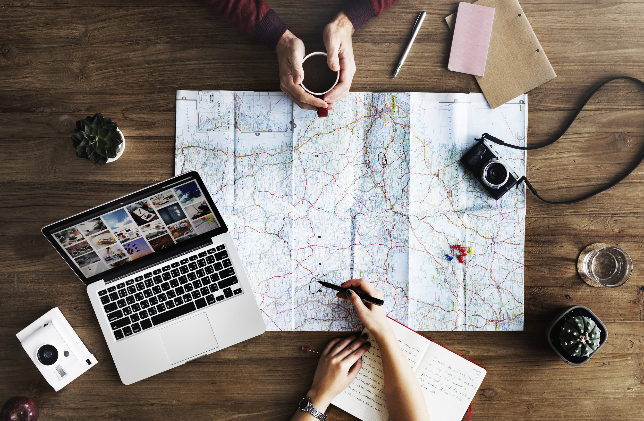 map, travel, creative, coffee
