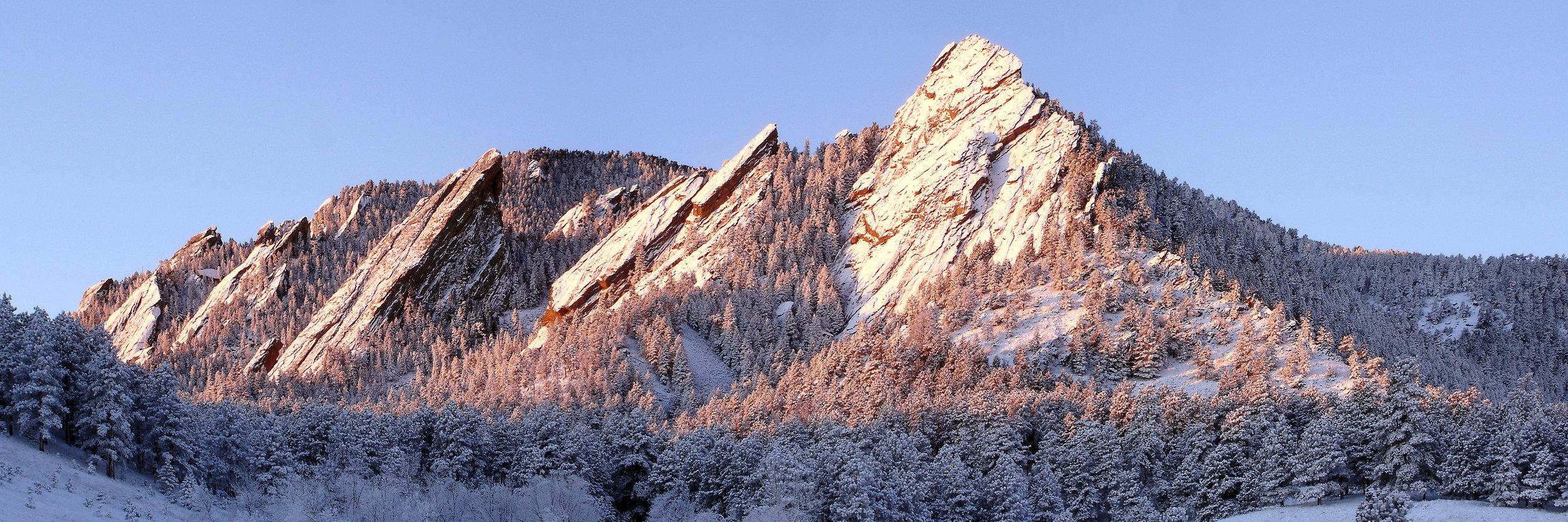 The Flatirons, rock formations near Boulder, Colorado.