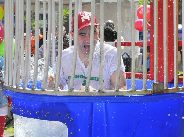"""Mike participating in the """"dunk tank challenge"""" for charity at the Spirit of Springfield Pancake Breakfast."""