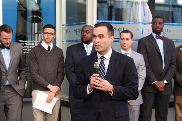 Mike at the grand opening of the Suit Up Springfield location on Worthington Street.