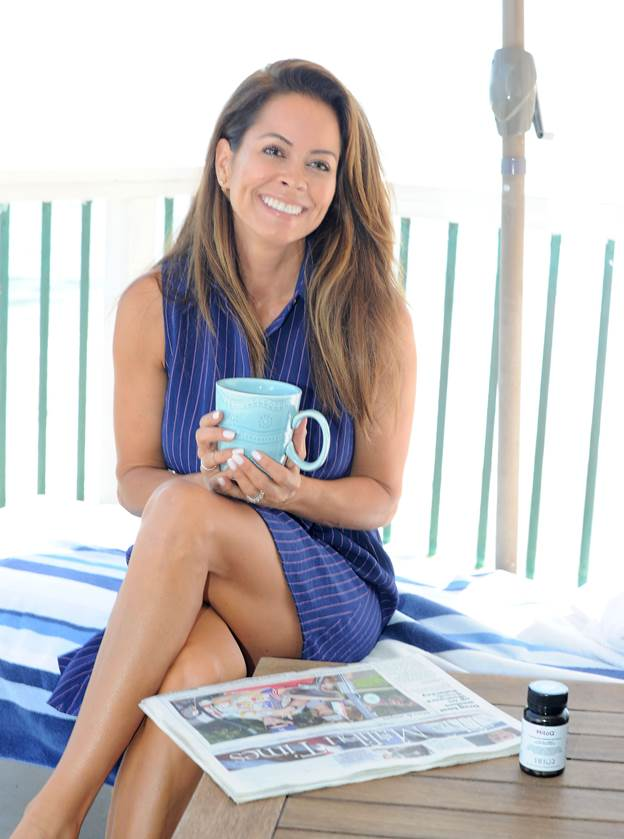 Brooke Burke in Malibu enjoying her daily health routine that includes her daily essential MitoQ to re-energize her body.