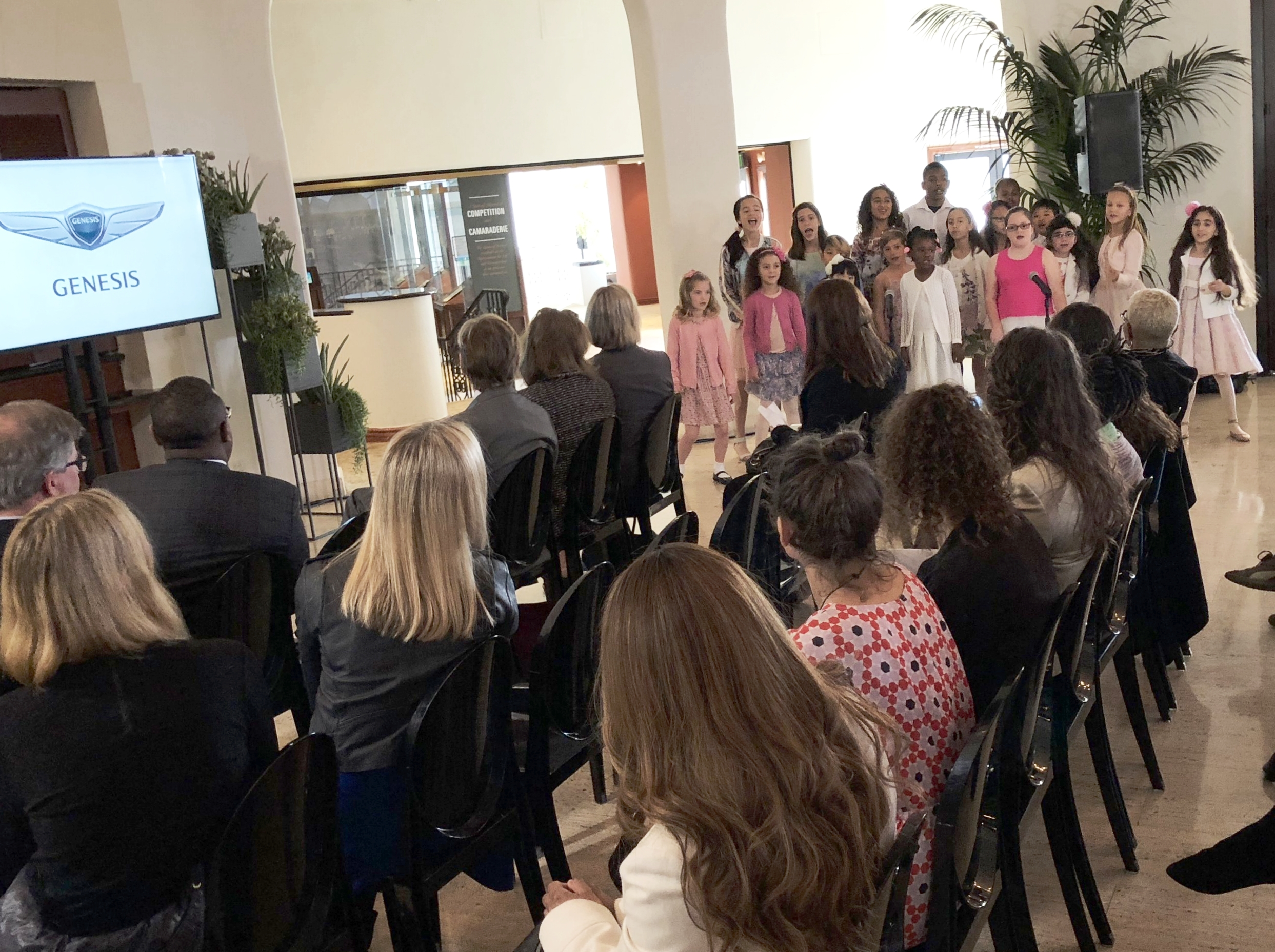 During the Genesis-Getty special grant presentation ceremony on Tuesday, February 13, students from the West Los Angeles Children's choir performed three songs.