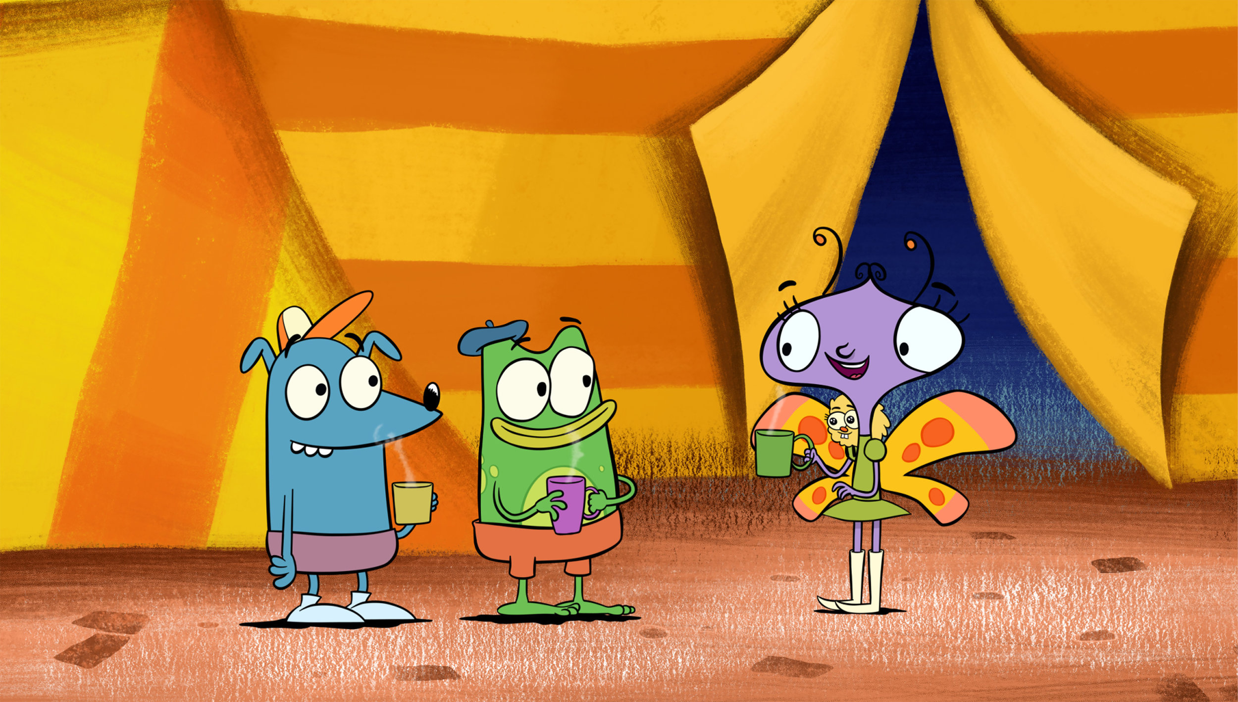 "This image released by PBS shows characters, Leo the wombat, from left, Andy the frog and Carmen the butterfly in a scene from the animated series ""Let's Go Luna,"" aimed at children age 4 to 7. It debuts Wednesday on PBS and on PBS Kids video streaming platforms. (LATW Productions Inc./PBs via AP)"