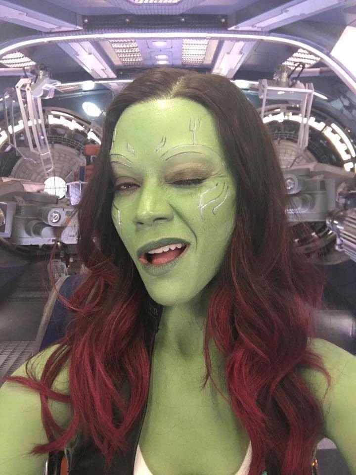 Imagen de Zoe Saldana como Gamora durante el rodaje de Los Guardianes de la Galaxia 2.
