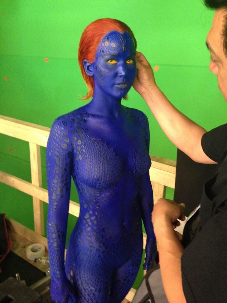 Primer vistazo a Jennifer Lawrence caracterizada de Mistica en X-MEN: DIAS DEL FUTURO PASADO.