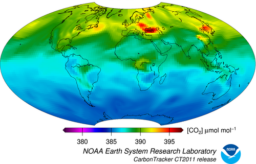 A diagram of free troposphere CO2.