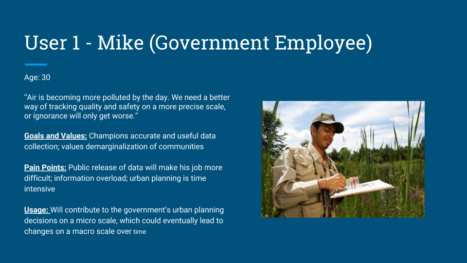 Mike would be responsible for creating legislation that holds ride-sharing and other private transport responsible for using Sensaira ethically, and will fine individuals who slack with combating air pollution or forge data. We envision Sensaira to be part of a larger Carbon Credits network and an internal carbon market that is enforced on all methods of transportation.