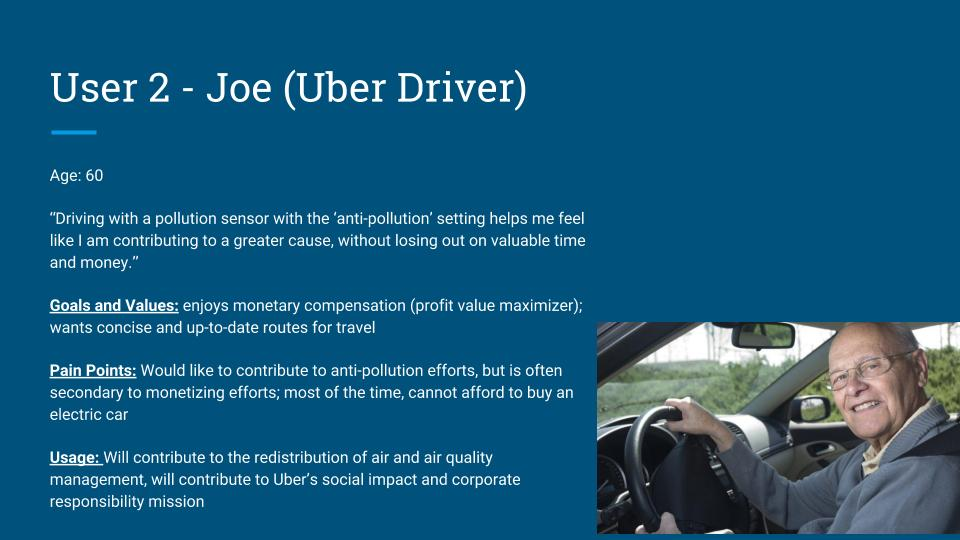 Joe's role is to contribute to the web-mapping service and social networking aspect of Sensaira. Joe, through Sensaira's feedback and app integration, will be notified of routes with the least amount of pollution. He will then follow these routes, to spread concentration and create a more balanced air quality throughout an urban environment. Drivers and ride-sharers can be required to or compensated for taking target routes.