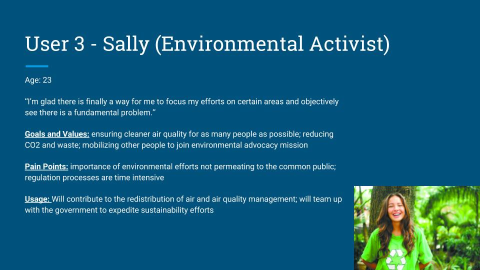 Sally's role is to inform and support urban planning decisions with detailed information, as well as distribute requirements to a smaller community to keep track and maintain a balanced air quality.
