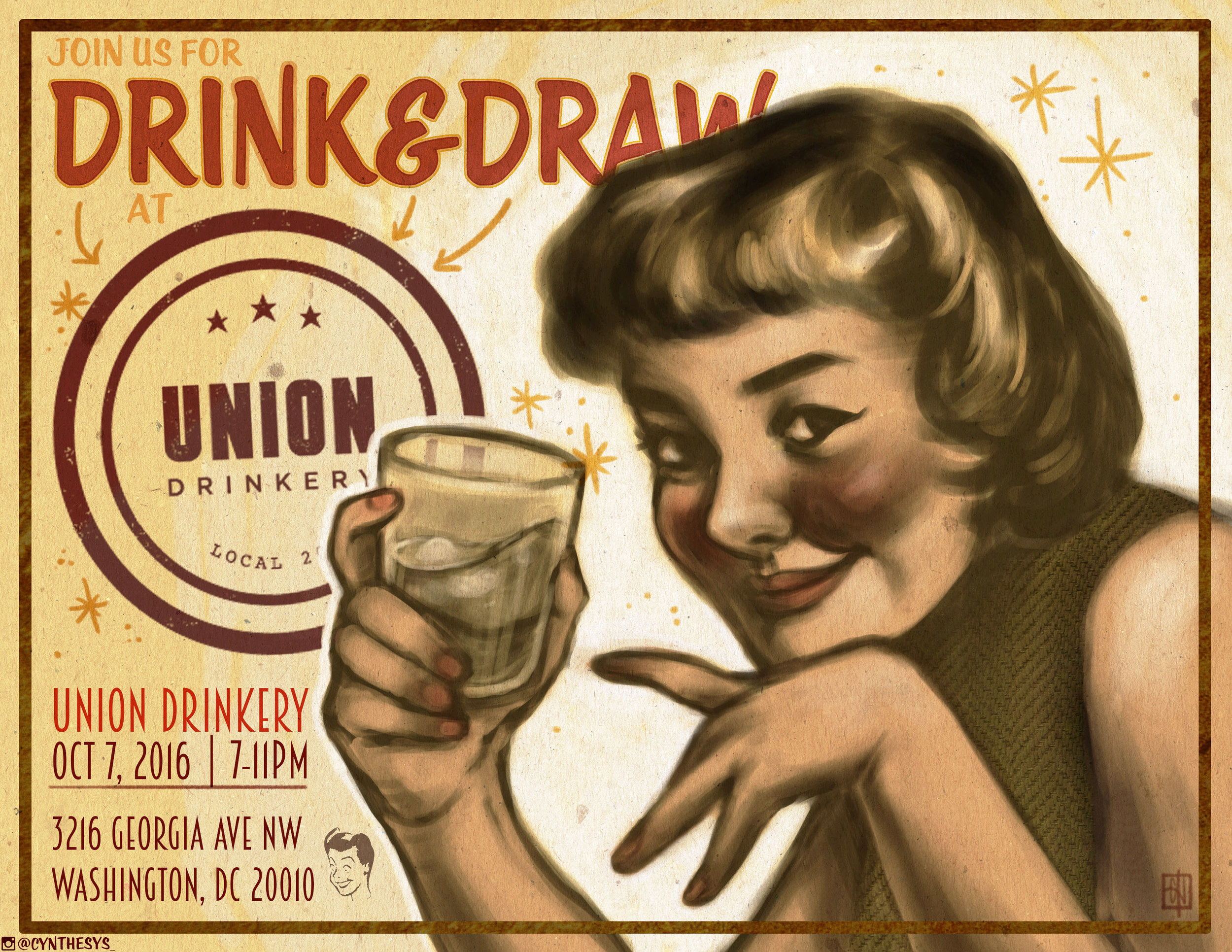 Drink & Draw event flyer