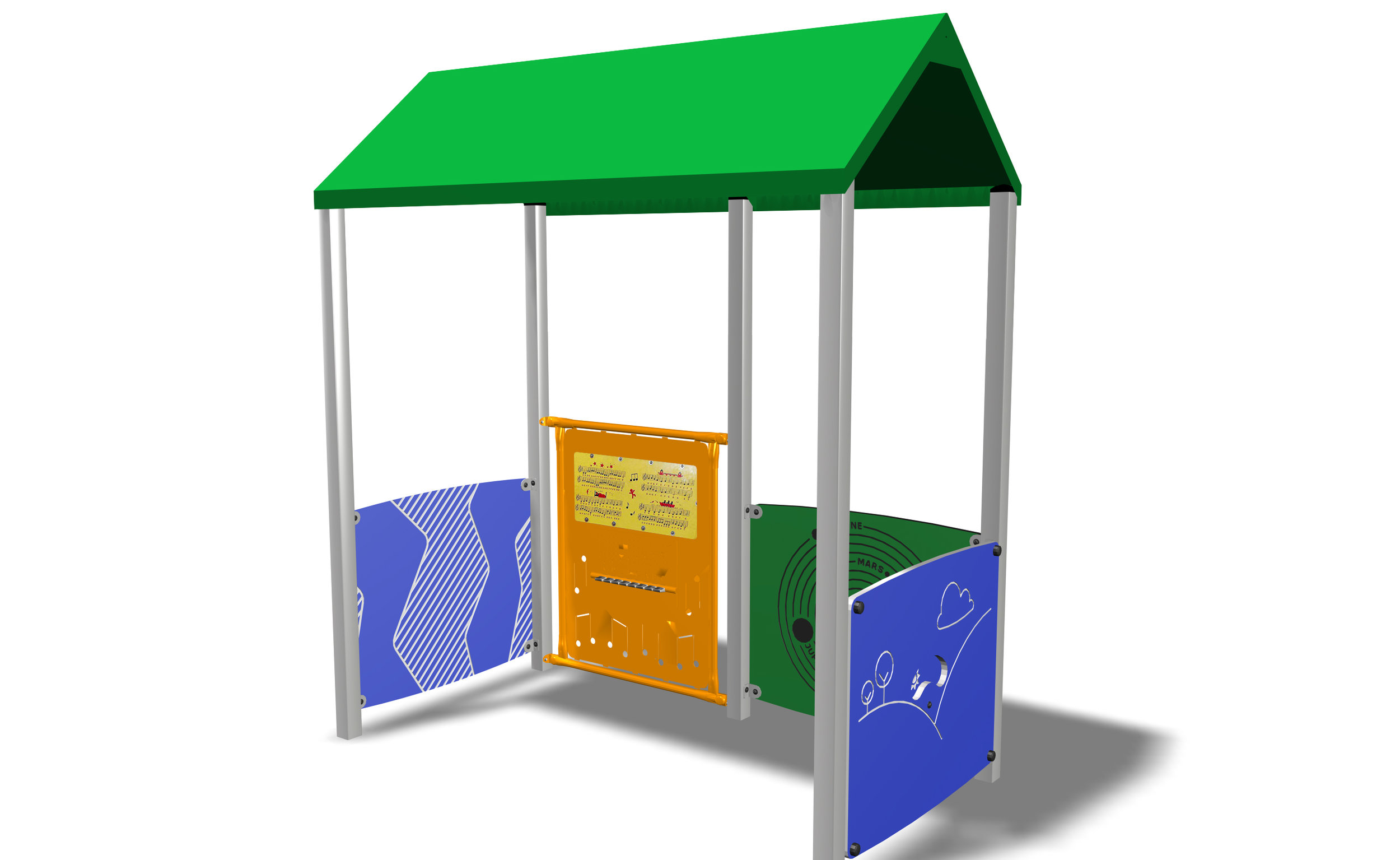 Sensory Hut - Our custom designed sensory huts provide interactive play opportunities for kids of all ages and abilities. With the option to swap out play panels, this freestanding hut provides playgrounds with a quiet spot for children to play and co-operate together.