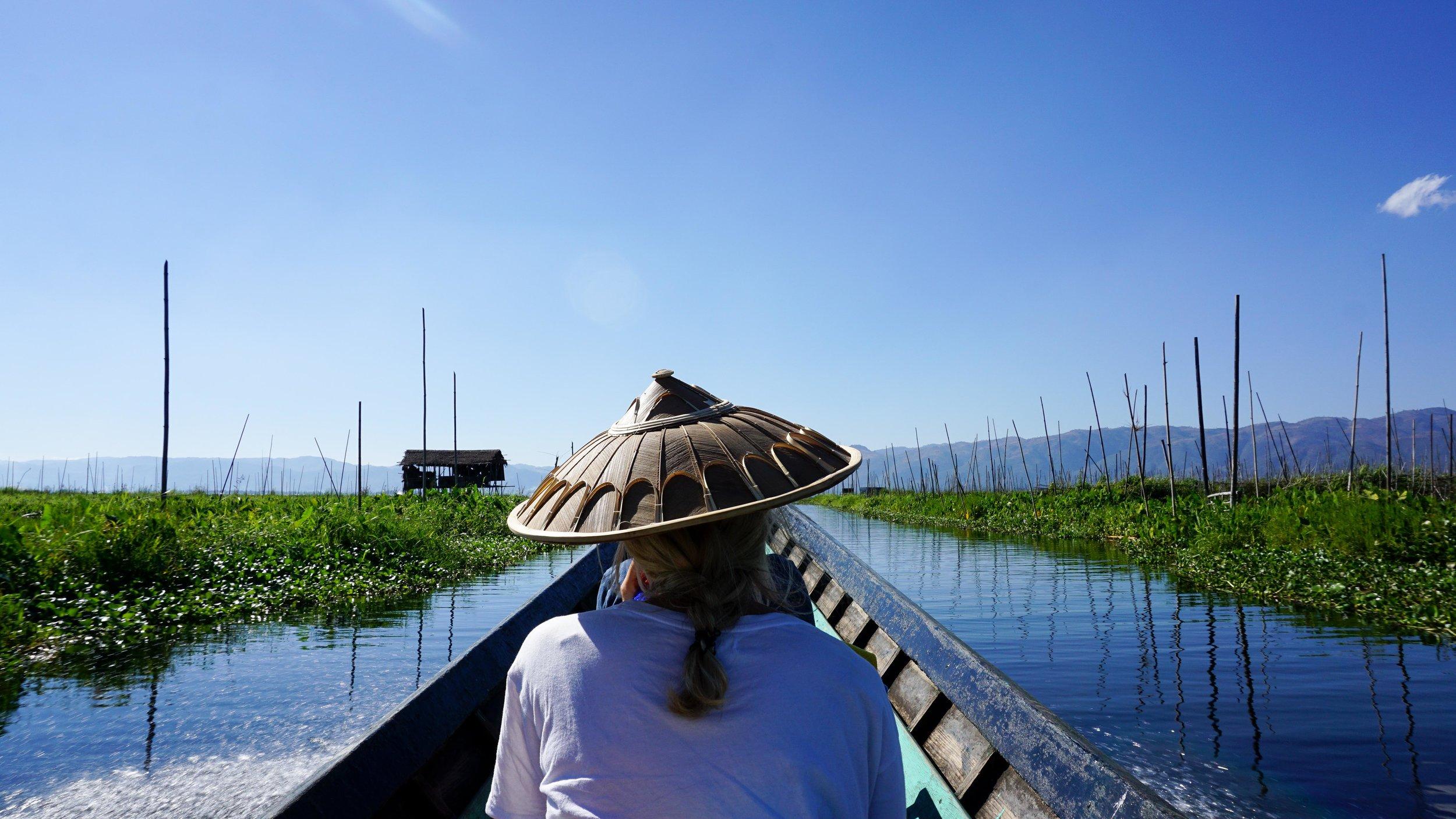 Cruising past the floating gardens on Inle Lake