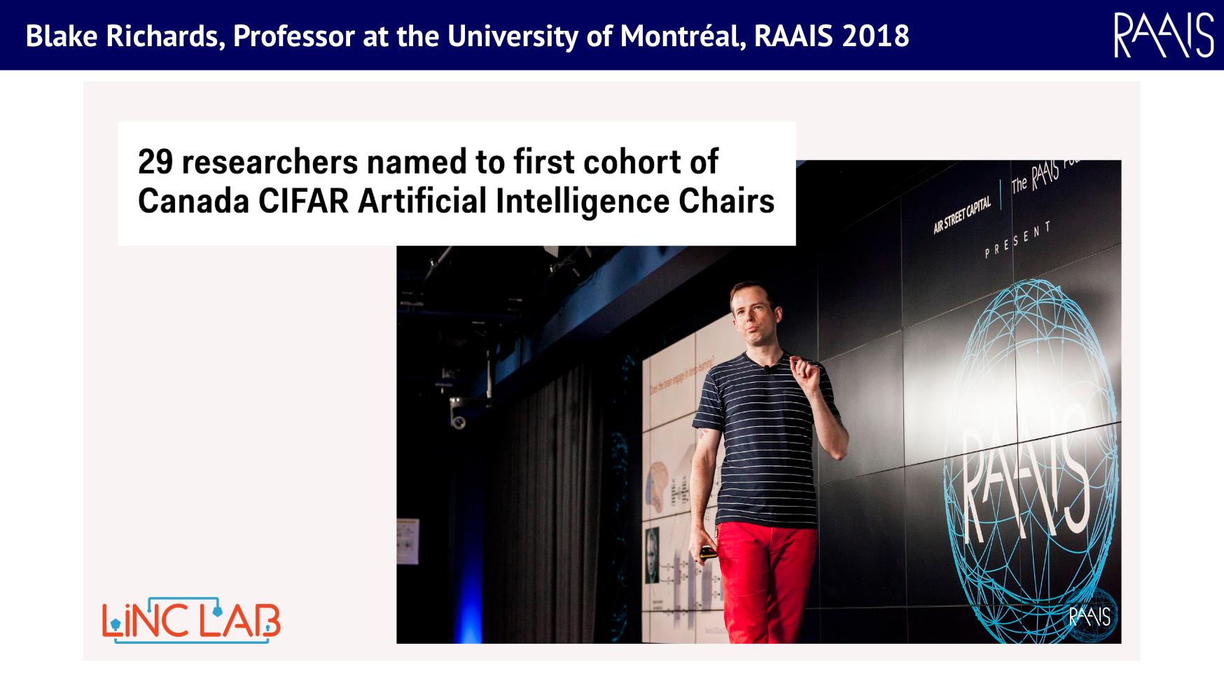 Blake Richard, University of Montreal, CIFAR, RAAIS 2018