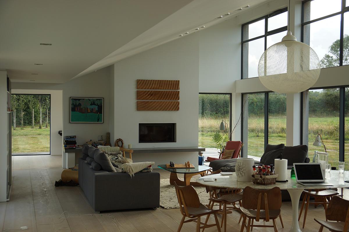 Panel mounted on living room wall