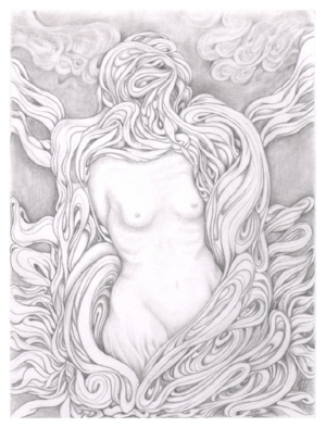 "Transmissions 6 - graphite on paper - 8""X6"" framed - SOLD"