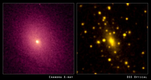 Abell 2029 viewed at (left) X-ray wavelengths and (right) optical wavelengths. Image Credit: CHANDRA/DSS
