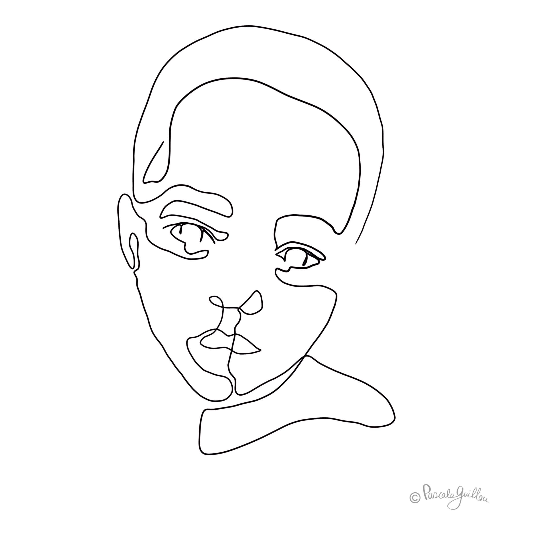 Black boy One line portrait ©Pascale Guillou