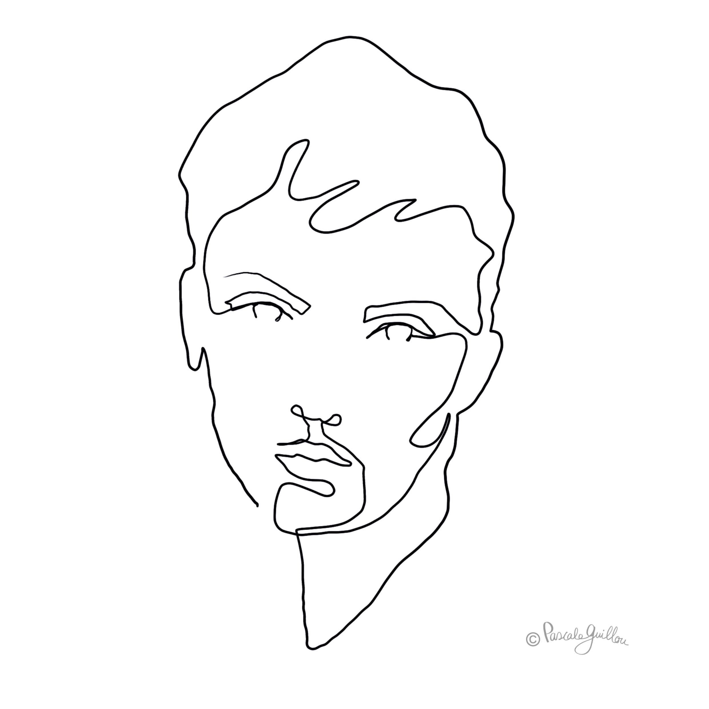 Woman Nostalgic One line portrait ©Pascale Guillou
