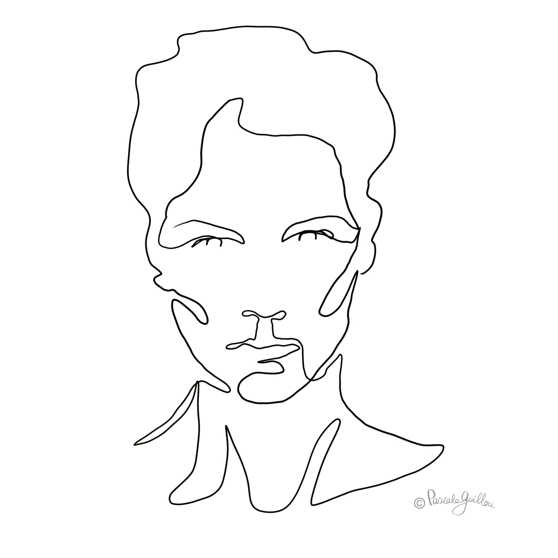 One Line Portrait Woman 1 ©Pascale Guillou Illustration - Single Line - Continuous Line Drawing