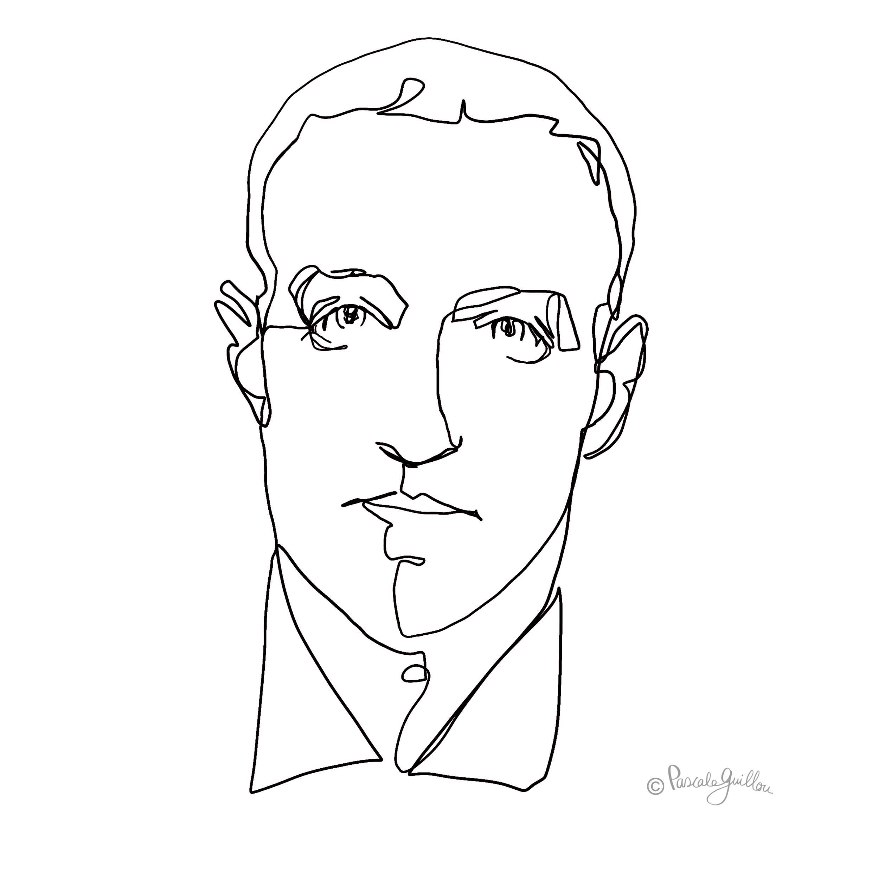 Mark Zuckerberg One line portrait ©Pascale Guillou