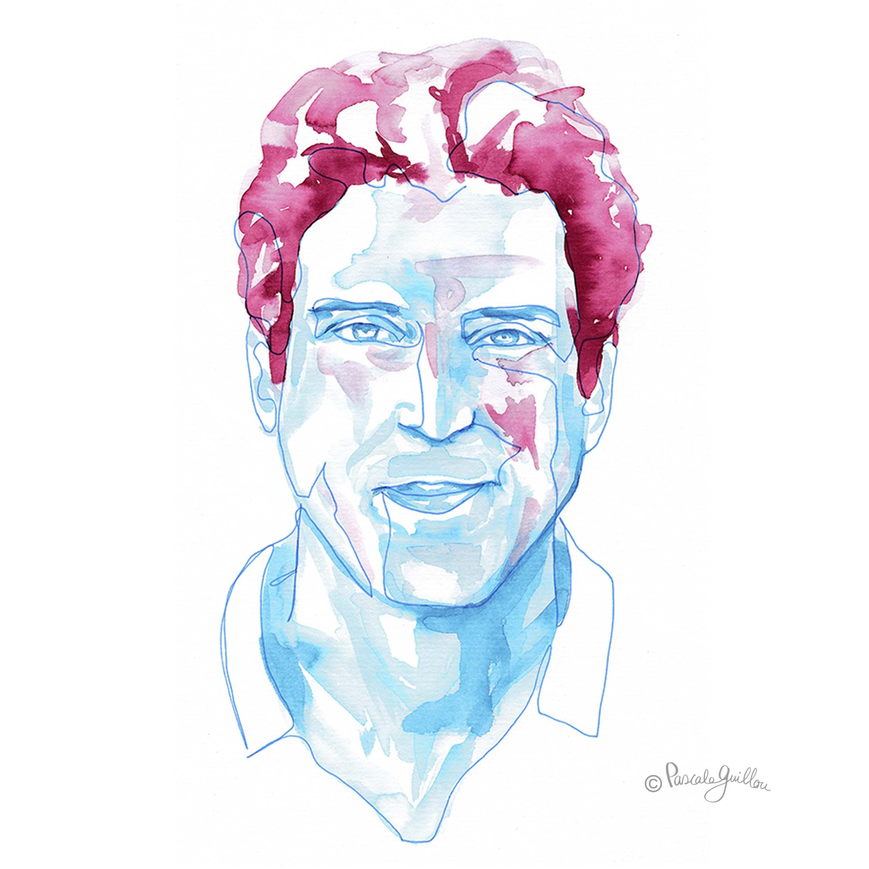 Man blue One line portrait ©Pascale Guillou