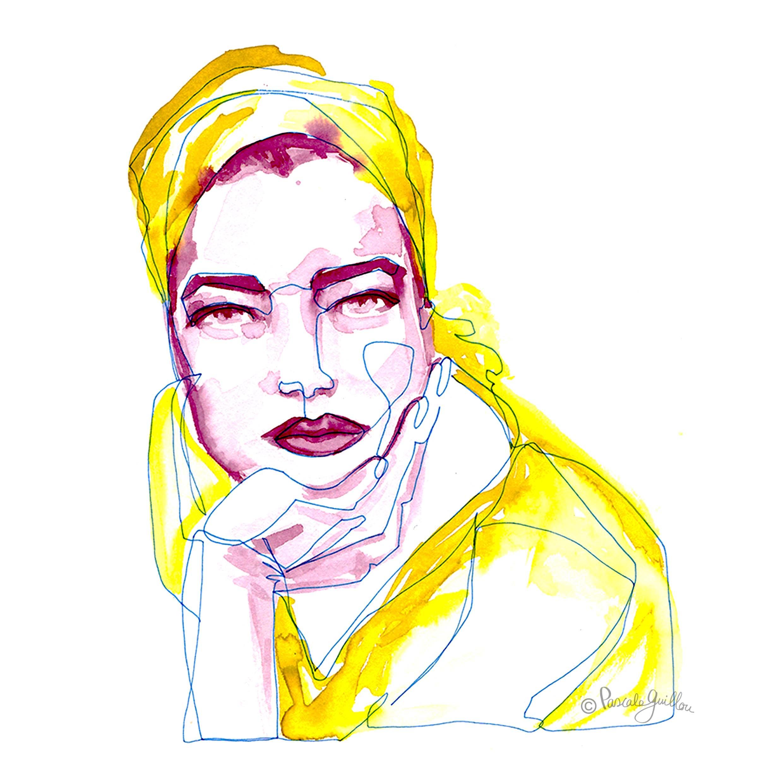 Romy Schneider One line portrait ©Pascale Guillou