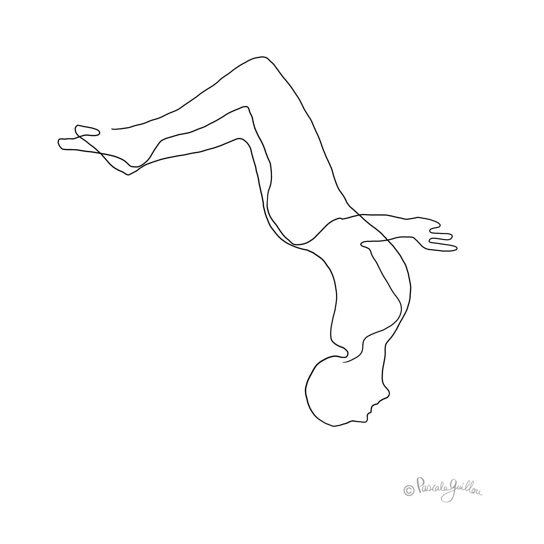 Salto man springing One line Illustration ©Pascale Guillou
