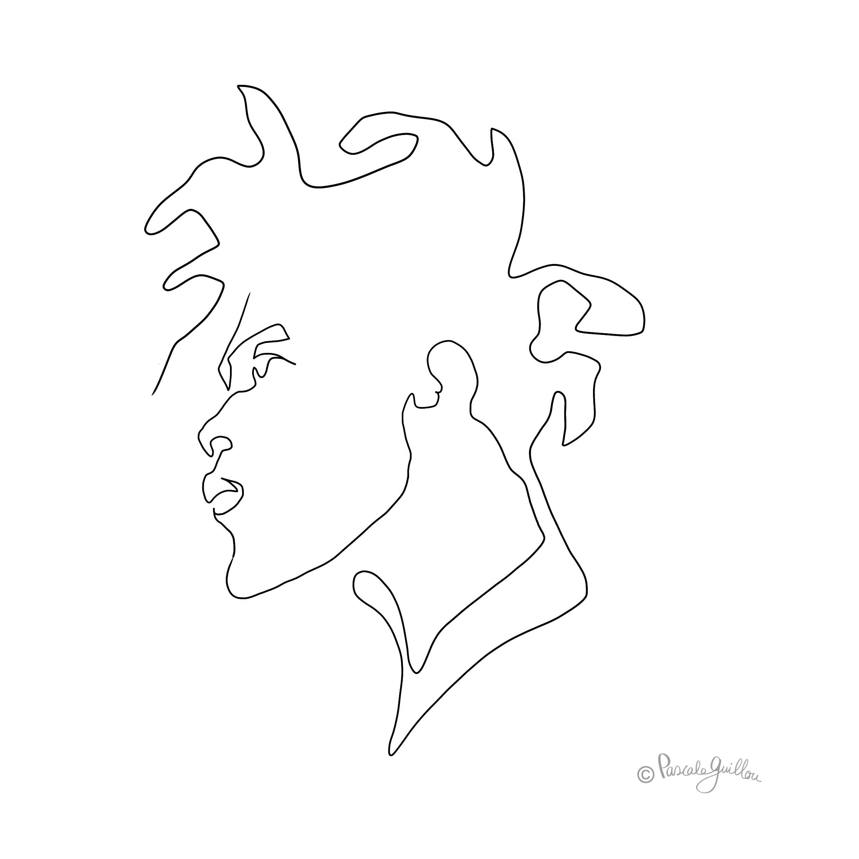 Black man rasta One line portrait ©Pascale Guillou Illustration