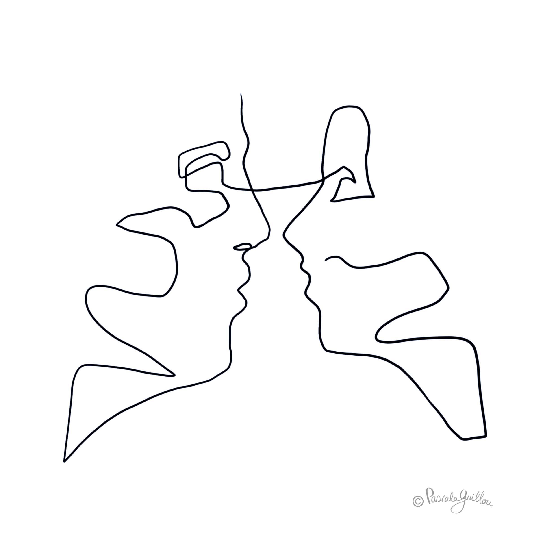 Woman man face a face One line portrait Illustration ©Pascale Guillou