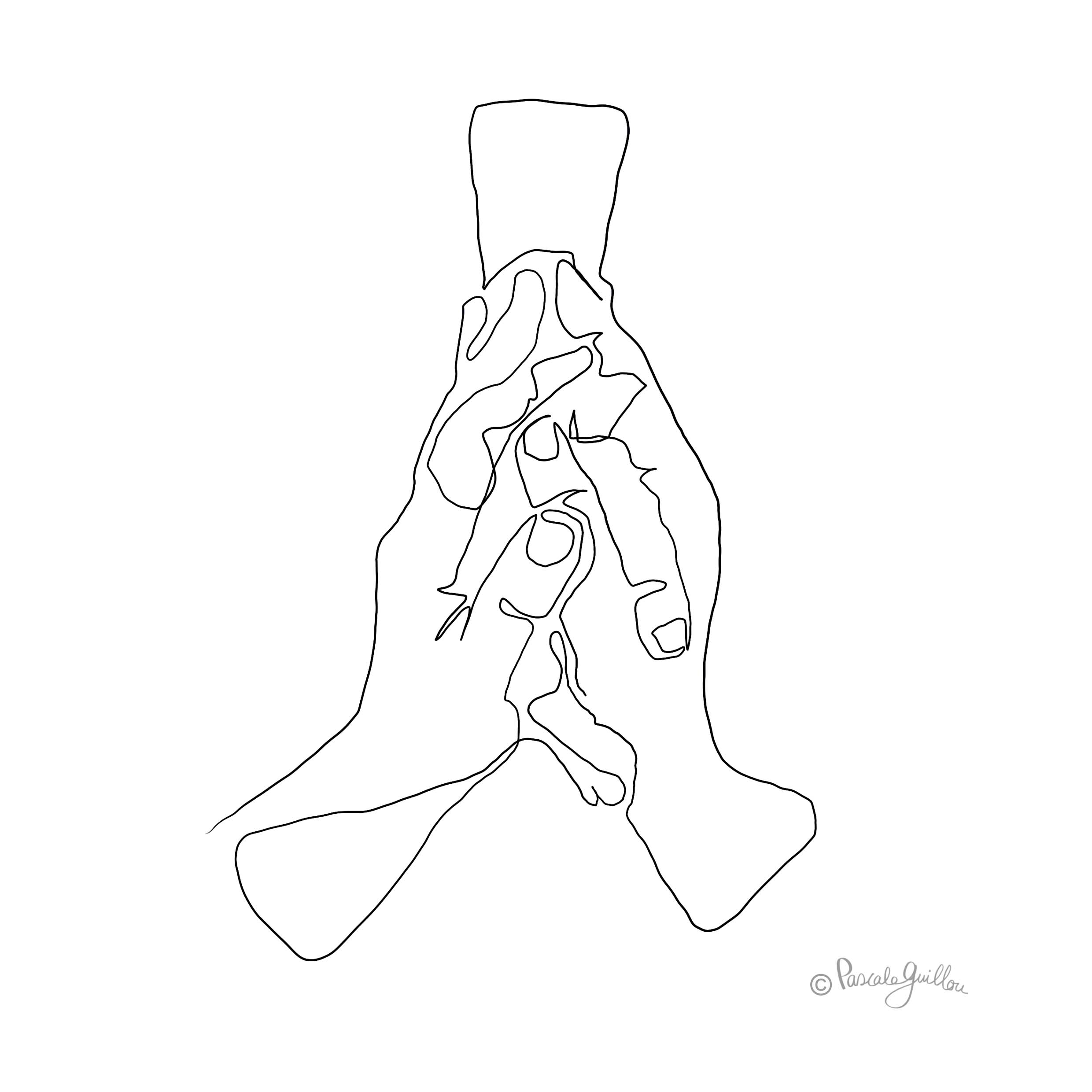 Hand in hand One line Illustration ©Pascale Guillou