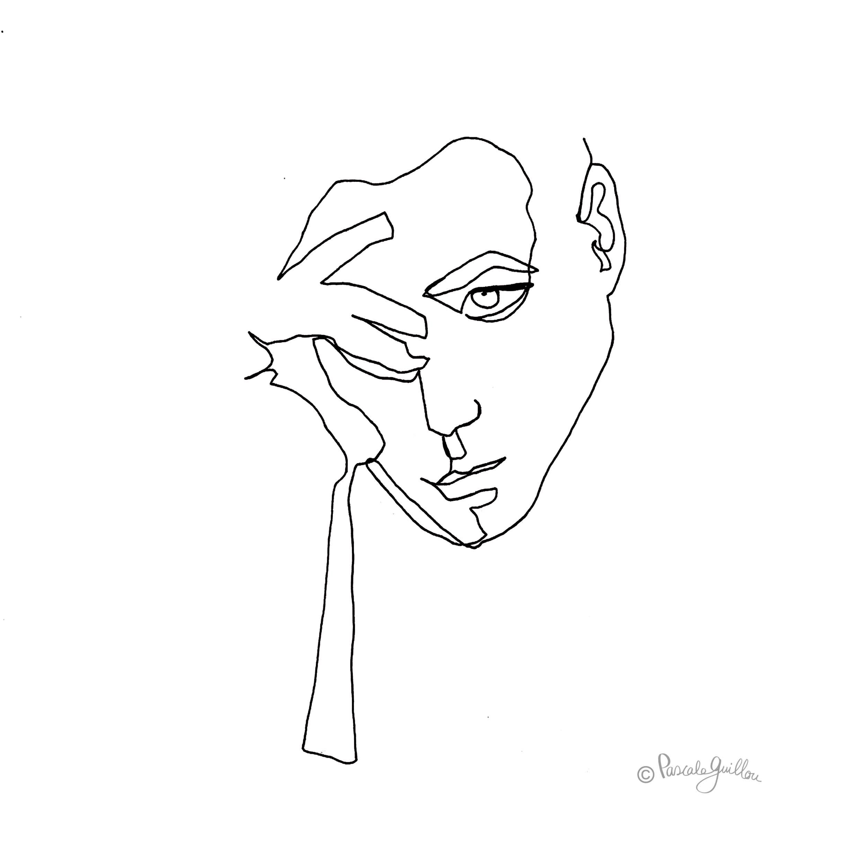 The Thinker Le penseur One line portrait ©Pascale Guillou