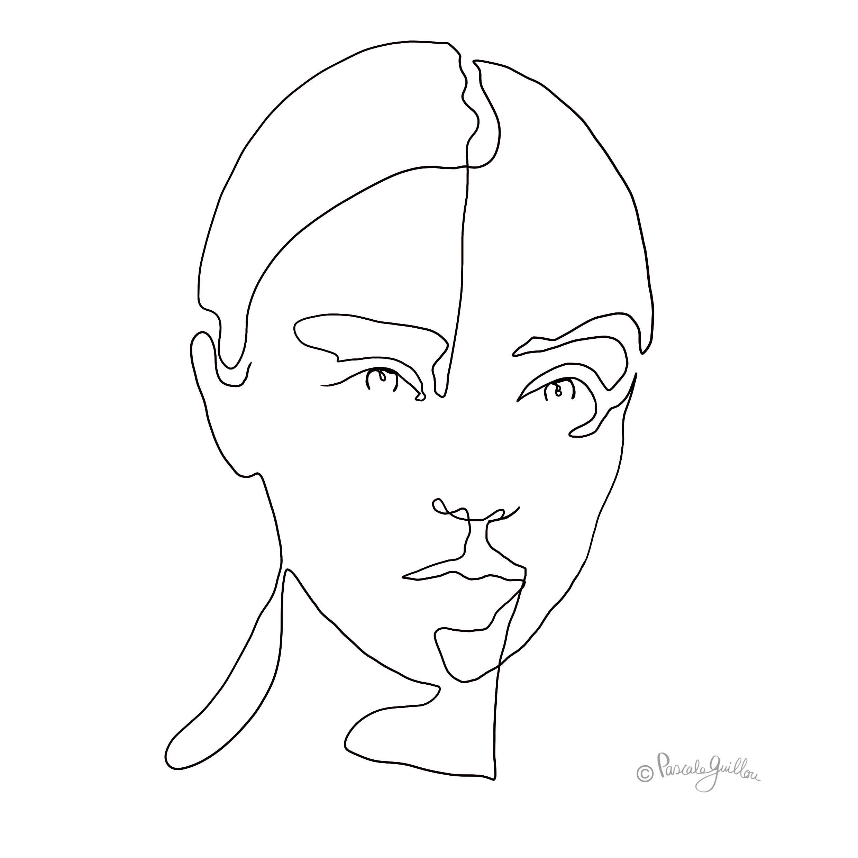Woman 5 One line portrait ©Pascale Guillou