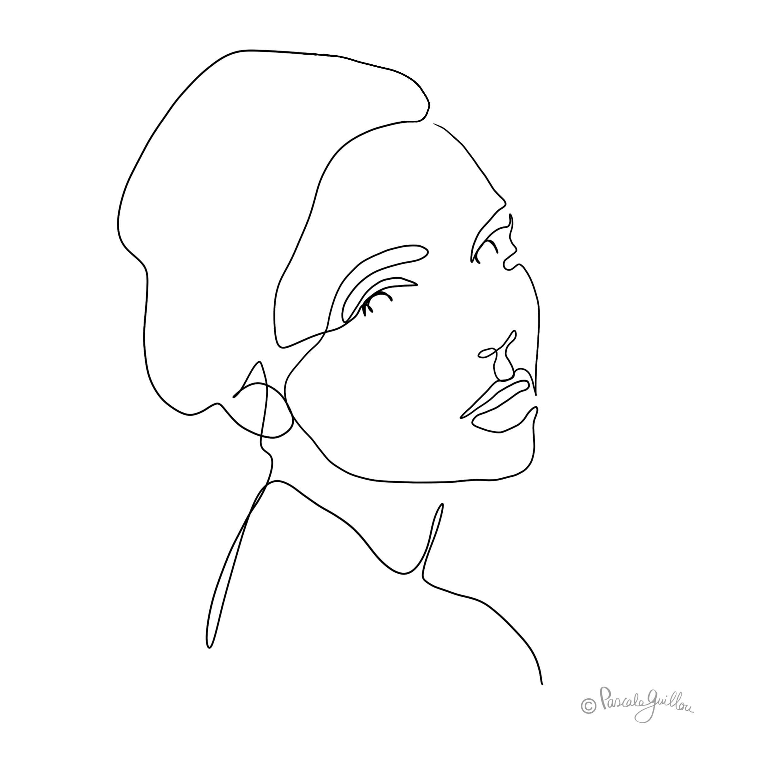 Woman 1 One line portrait ©Pascale Guillou Illustration