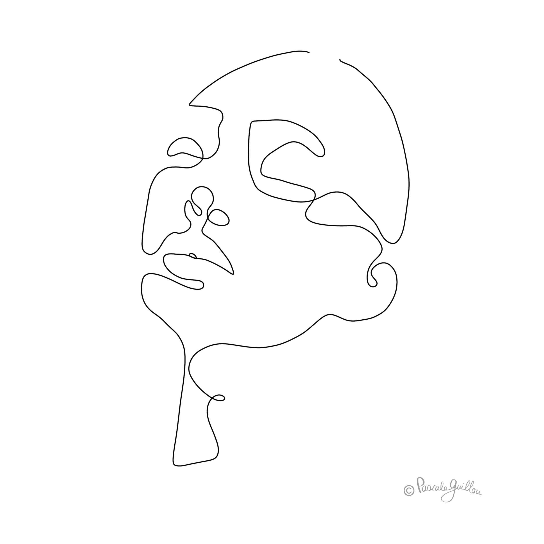 Woman 2 One line portrait ©Pascale Guillou